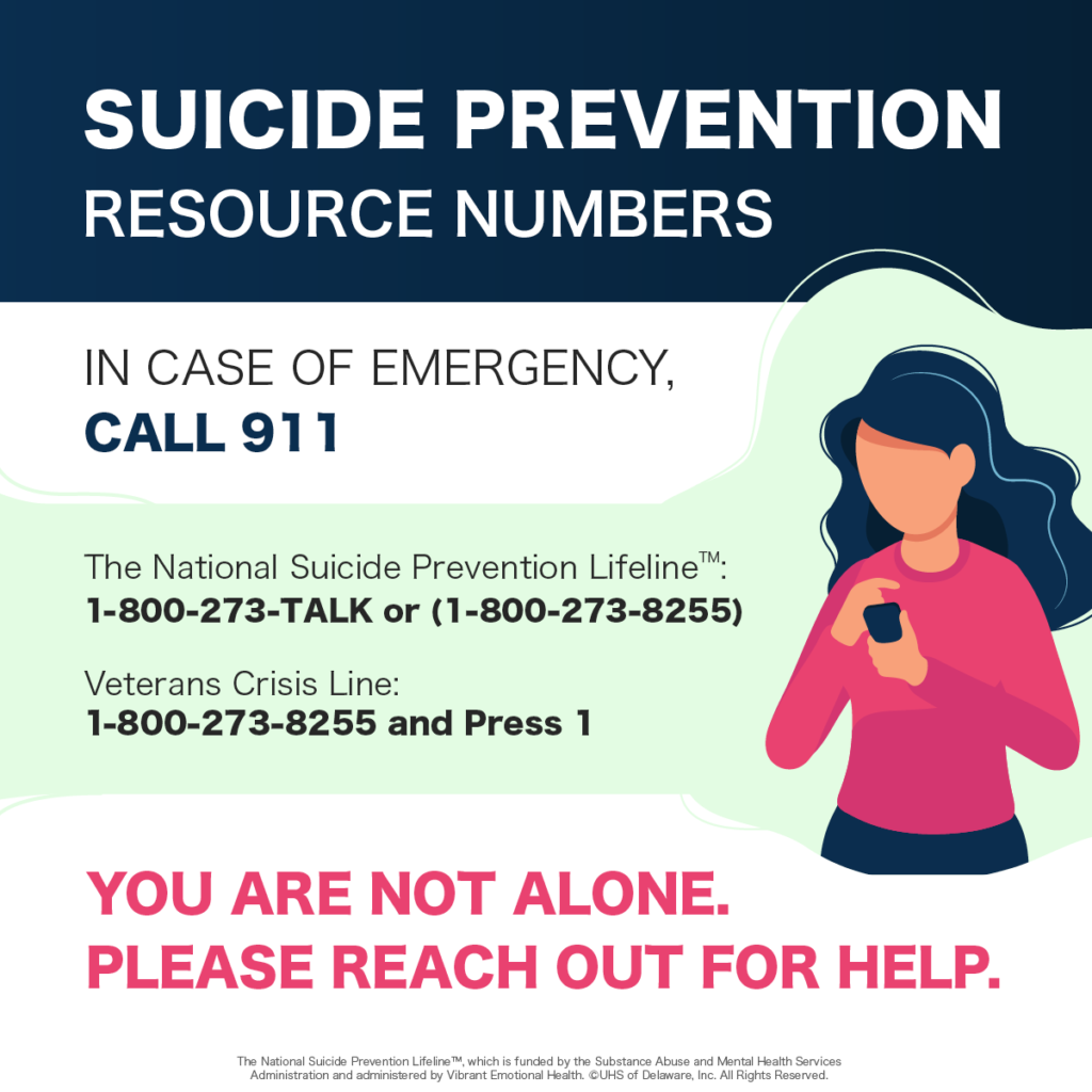 The National Suicide Prevention Lifeline 1-800-273-TALK or 1-800-273-8255